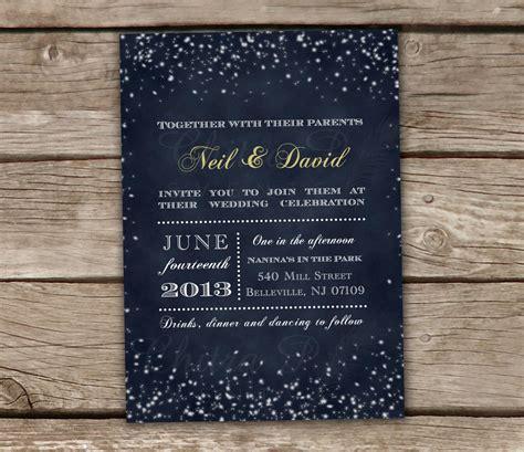 starry night wedding invitations printed midnight blue