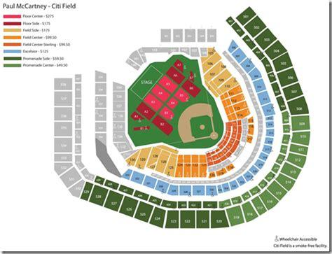 test blog seating chart  paul mccartneys citi field concert