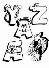 Alphabet Coloring Pages Funny Letters Coloriage Printable Fun Alphabets Kleurplaten Imprimer Letter Educational Dessin Sheets Education Alfabet Dessiner Sheet Alphabeth sketch template