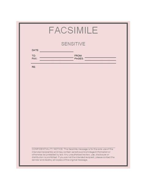 printable fax cover sheet templates  template
