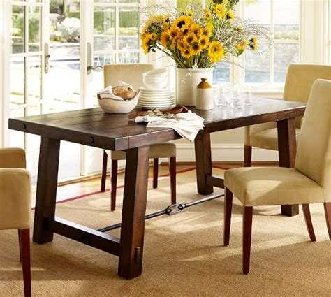 pottery barn tables benchwright fixed dining table pottery barn