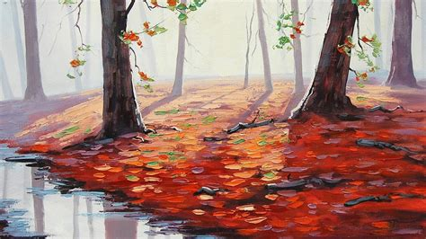 graham gercken painting fall puddle leaves trees