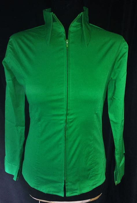 ladies zip  fitted show shirt kelly green  bling boutique