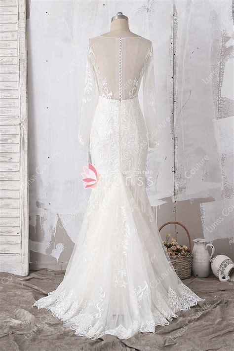 ivory customized illusion long sleeve patterned lace