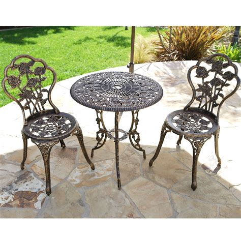 3pcs outdoor patio furniture cast aluminum bistro set
