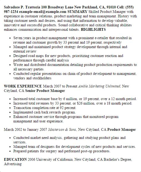 plastic product design resume professional product manager templates to showcase your talent myperfectresume