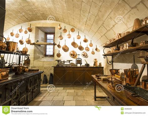 chenonceaux castle interior view  kitchen editorial