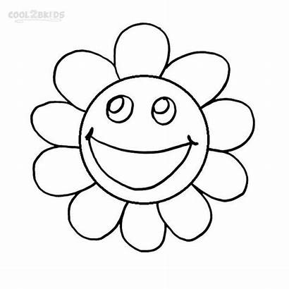 Smiley Coloring Face Faces Pages Flower Printable