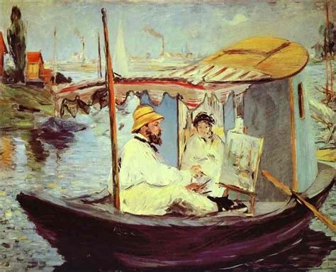 Manet Monet In His Studio Boat by Edouard Manet Gallery Painting Reproductions And Prints