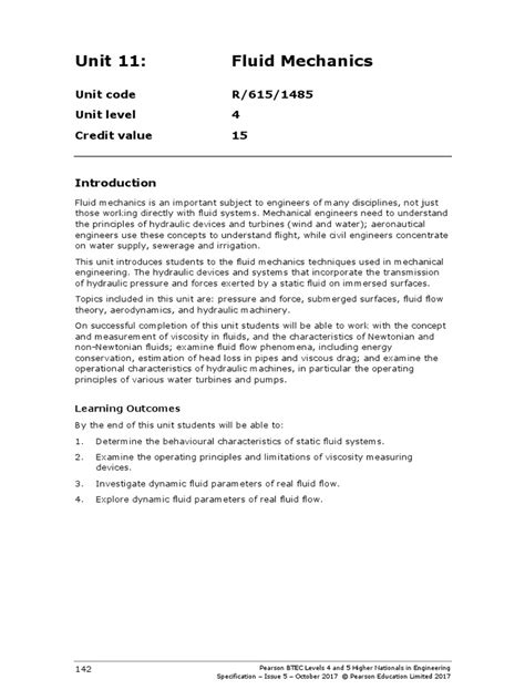 Unit Specification - Fluid Mechanics NEW Unit 11 | Fluid