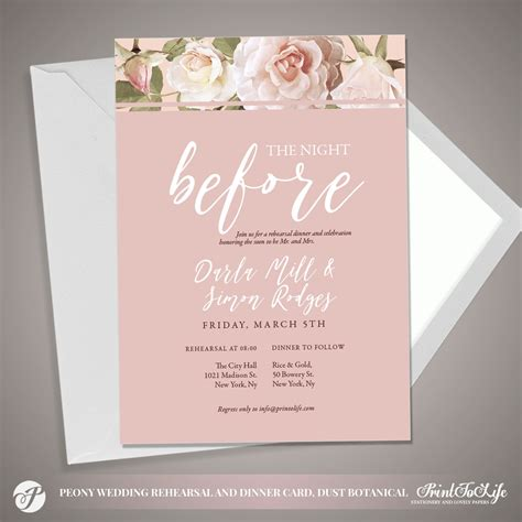 Peony Rehearsal Invitation Dusty Pink Botanical