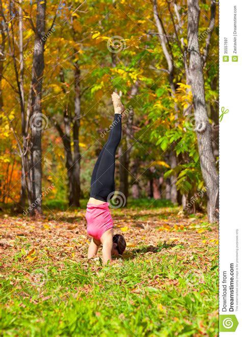 yoga urdhva mukha pinch mayurasana pose royalty  stock