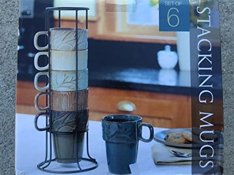 Ceramic Stacking Mugs With Metal Stand