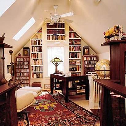 Library Spaces Bookshelves Decorating Designs Attic Shelves