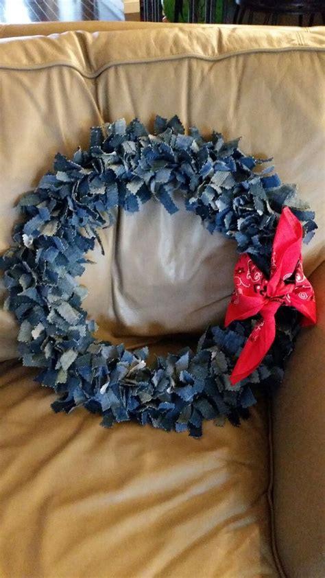 denim wreath   projects ive  denim decor