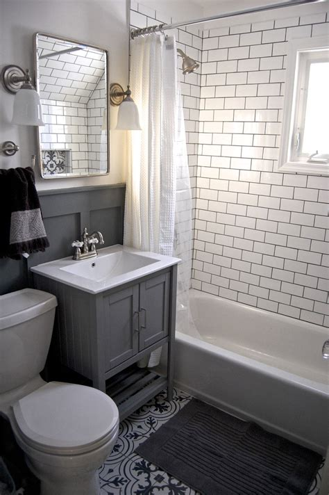small grey  white bathroom renovation update subway