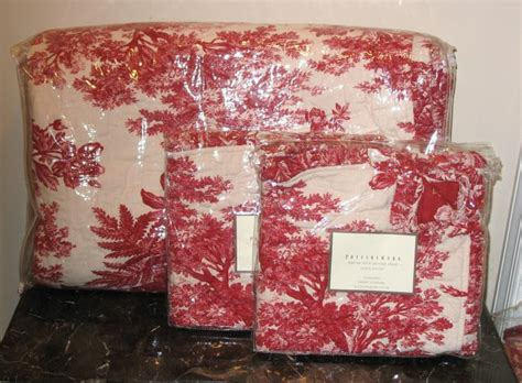 New Pottery Barn Matine Toile Quilt/sham Full/queen Red