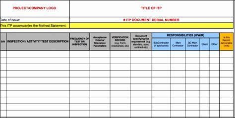 inspection  test plan template sampletemplatess