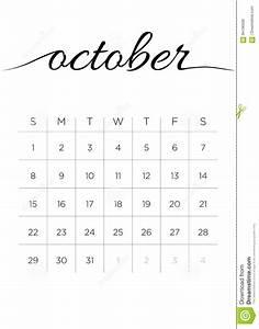 Calendário Outubro De 2017 Mensal Ilustração do Vetor