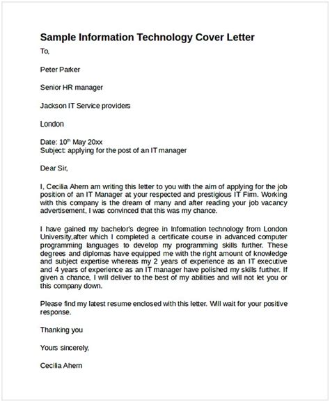Sle Cover Letter Information Technology by Cover Letter Information Technology Cycling Studio