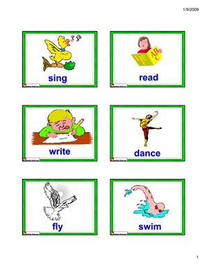 English For Kids,esl Kids Actions Flashcards  Set 2