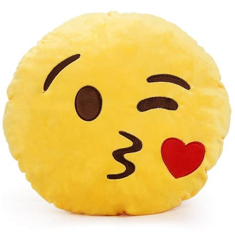 Soft Emoji Cushion Pillow Emoticon Round Yellow Stuffed