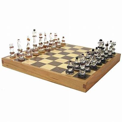 Chess Pieces Glass Tables Wood Board Chairs