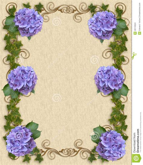 wedding invitation hydrangea  ivy stock images image