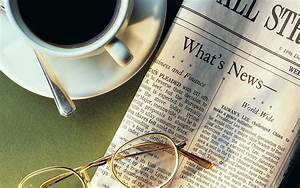 Newspaper With Morning Black Coffee Cup and Sunglasses ...