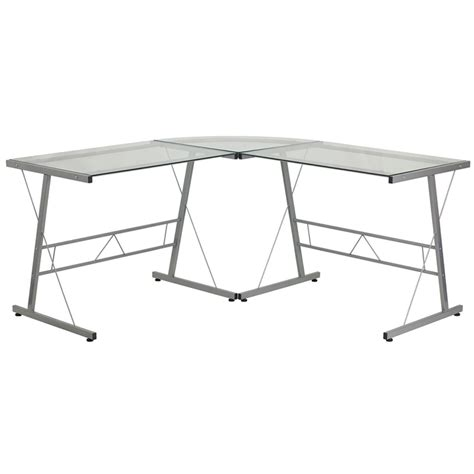 glass computer desks for small spaces flavia glass l shaped desk