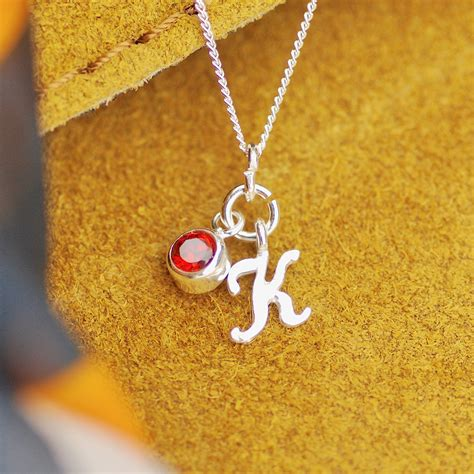 Sterling Silver Script Mini Initial Letter Necklace with ...