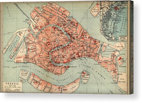 vintage map  venice italy  acrylic print