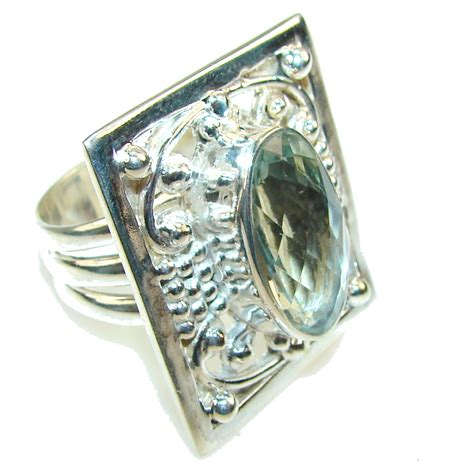 light green stone ring light green amethyst sterling silver ring s 11