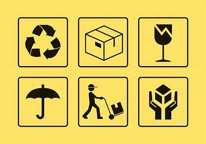 Package Handling Icons Icon Cut Vektor Zerbrechlich