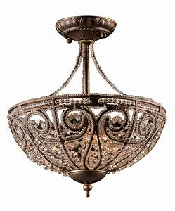Elk lighting crystal elizabethan semi flush ceiling