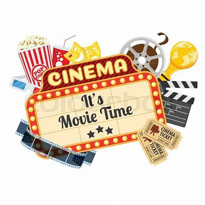 Cinema Movies Vector Popcorn Icons Film Flat