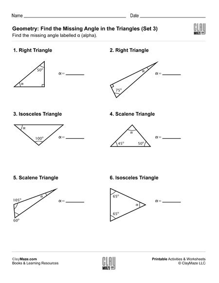 geometry find the missing angle in the triangle 3 childrens educational workbooks