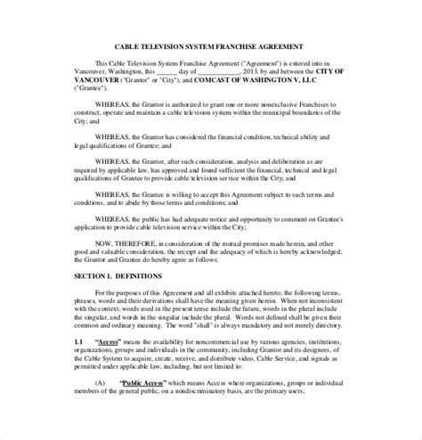 franchise agreement template   word