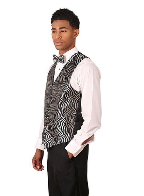 mens black silver formal designer business suit zebra