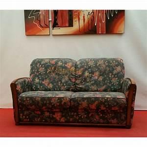 Canapé Bois Et Tissu : canap bois et tissu fleuri 2 places n125 ~ Teatrodelosmanantiales.com Idées de Décoration