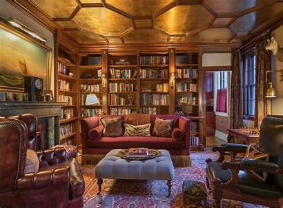 Library Fireplace Office Cozy Libraries Interiors Luxury