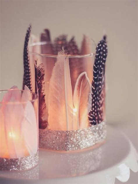 windlichter basteln glas dekoriert mit federn und