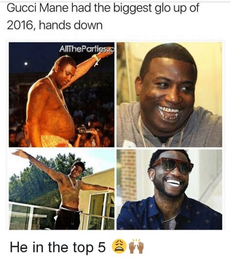 Mane Meme - gucci mane had the biggest glo up of 2016 hands down aithepar tiesc he in the top 5 glo up