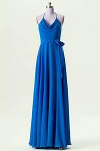 Robe Bleu Demoiselle D Honneur : robe chic bleu royal de demoiselle d 39 honneur col halter avec bretelles fines ~ Dallasstarsshop.com Idées de Décoration