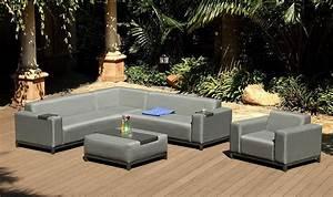 Salon De Jardin Exterieur : salon ext rieur contemporain en tissu gris 6 8 places ~ Melissatoandfro.com Idées de Décoration