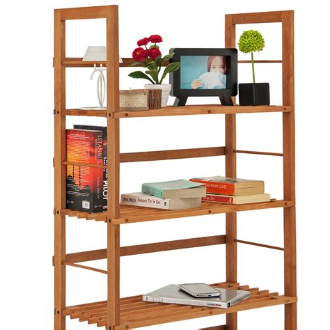 Shoe Storage Bookcase by 2x Wooden Rack Slatted Free Standing Brown Shelf Shoe