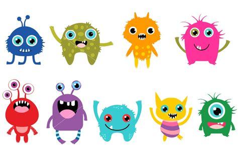 Little Monsters Clipart Set, Cute Cartoon Monster By