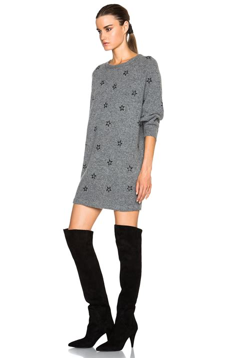 gray sweater dress laurent embroidered sweater dress in gray lyst