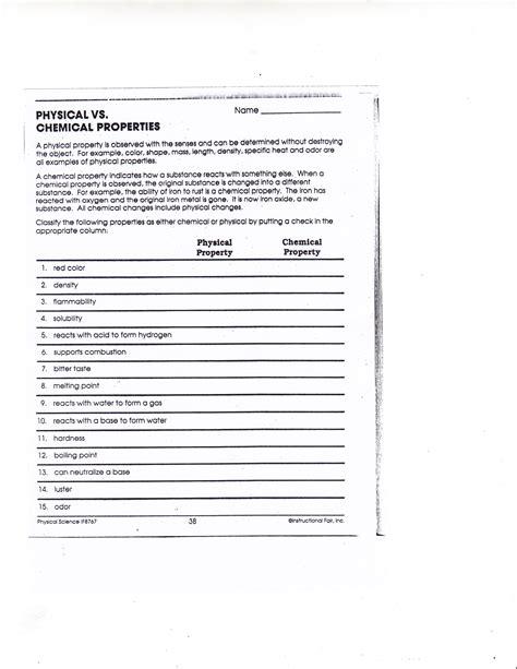 worksheet chemical vs physical change worksheet grass