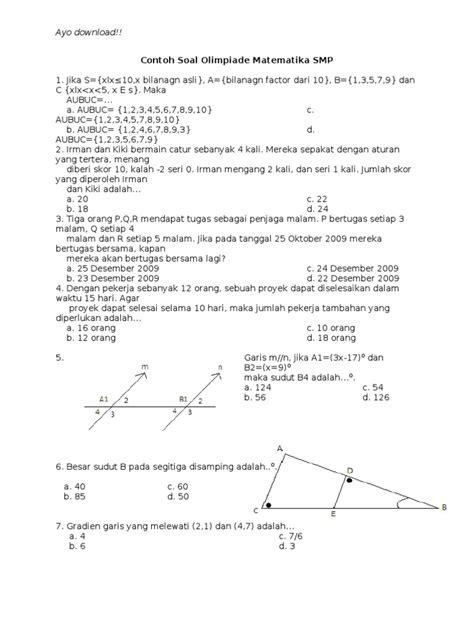 Penelitian pendidikan matematika, soal dan pembahasan matematika sma contoh soal matematika penilaian tengah semester (pts) genap. Contoh Soal Olimpiade Matematika SMP